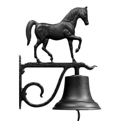 Large Country Bell with Horse - Black