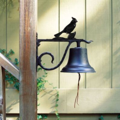 Large Country Bell with Cardinal - Black