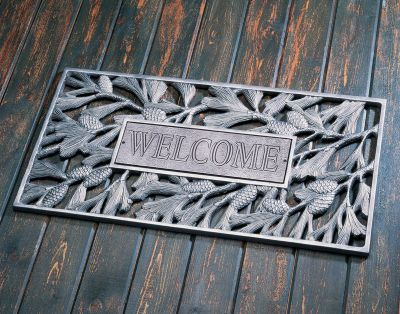 Aluminum Welcome Pinecone Door Mat - Pewter/Silver