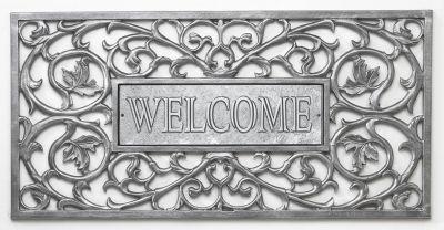 Aluminum Welcome Filigree Rectangular Door Mat - Pewter/Silver