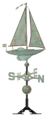 Classic Directions Copper Sailboat Weathervane - Verdigris