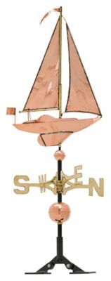 Classic Directions Copper Sailboat Weathervane - Polished