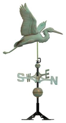 Classic Directions Copper Heron Weathervane - Verdigris