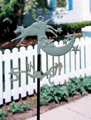 Garden Directions Cow Over Moon Garden Weathervane - Verdigris