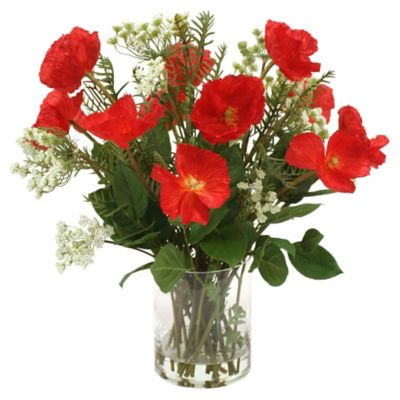 Waterlook Red Poppies & Queen Anne's Lace in Glass Cylinder