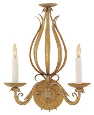 Gold & Scrolls 2-Light Wall Sconce - Florentine Iron Art
