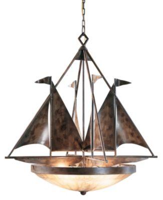 Sailboats 4-Light Chandelier - Handmade & Finished Iron