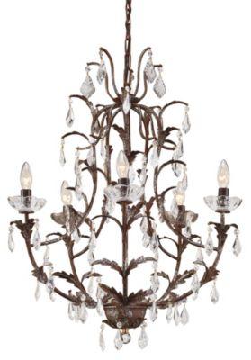 Leaves & Crystal 5-Light Chandelier - Art Glazed Iron