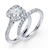 14K Cushion Cut Halo Engagement Ring