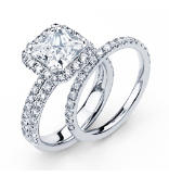 14K Princess Cut  Halo Engagement Ring