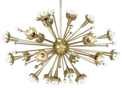 Jonathan Adler Sputnik 24 Light Chandelier - Natural Brass