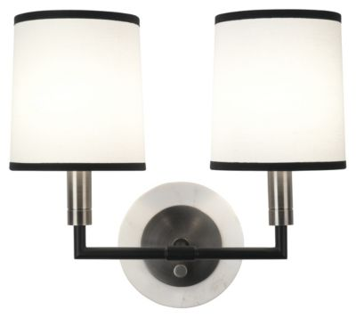 Axis 2-Light Double Wall Sconce - Blackened Antique Nickel with Matte Black Accents