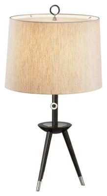 Jonathan Adler Ventana 26'' Tripod Table Lamp - Ebony/Polished Nickel