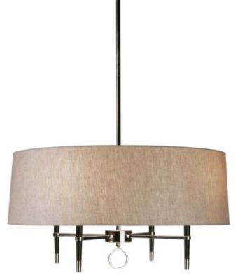 Jonathan Adler Ventana Single Tier Chandelier - Ebony/Polished Nickel