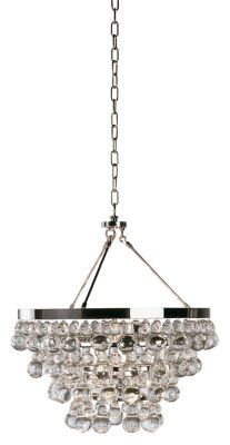 Bling Chandelier w/ Convertible Double Canopy - Polished Nickel/Clear Glass Drops