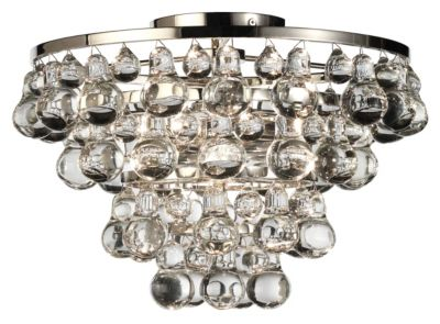 Bling Flush Mount - Polished Nickel/Steel Glass Drops