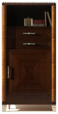 Deco Right-Side Facing Bookcase with Drawers - Dark Walnut/Almond
