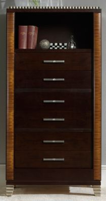 Deco High Chest - Dark Walnut/Almond