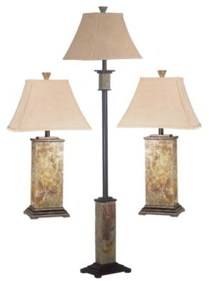 Bennington 3-Pack Table/Floor Lamps - Natural Slate
