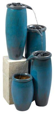 Agua Indoor/Outdoor Floor Fountain - Blue Glaze
