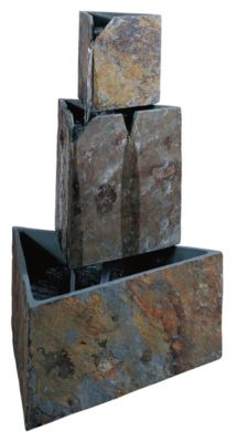 Stacked Triangles Outdoor Floor Fountain - Natural Slate