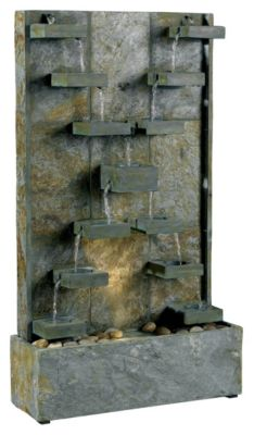 Watercross Indoor/Outdoor Floor Fountain - Natural Green Slate