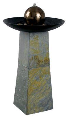 Sleek Indoor/Outdoor Floor Fountain - Natural Green Slate