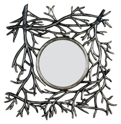 Bramble Wall Mirror - Dark Walnut with Silver Accents