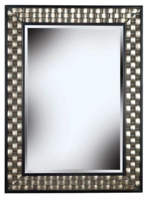 Checker Wall Mirror - Brushed Silver with Black Accents