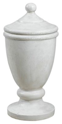 Roman White  Indoor/Outdoor Covered Urn Decorative Ornament - White