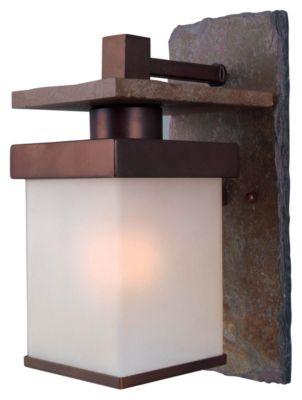 Boulder 1-Light Medium Outdoor Wall Lantern - Natural Slate with Copper