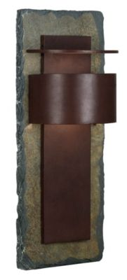 Pembrook 1-Light Extra Large Outdoor Wall Lantern - Natural Slate with Copper