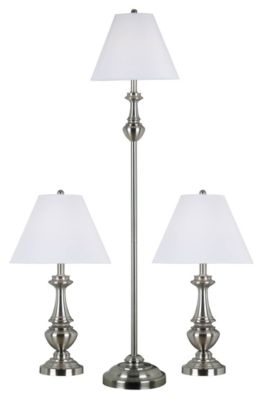 New Hope 3-Pack Table & Floor Lamps -  Brushed Steel
