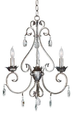 Antoinette 3-Light Chandelier - Weathered Silver