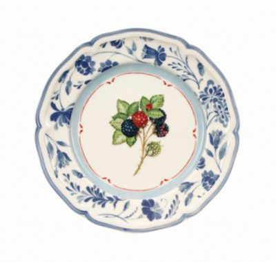 Cottage Salad Plate with Blue Stencil Rim