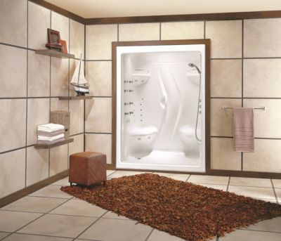 Stamina 60-I 1-Piece Acrylic Shower Module with Right-Hand Seat & Roof Cap