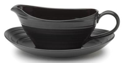 Mikasa® Swirl Black Gravy Boat with Stand