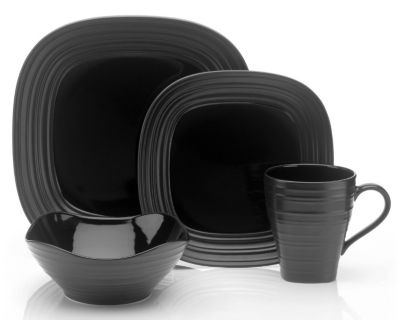 Mikasa® Swirl Square Black 4-Piece Place Setting