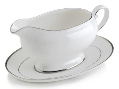 Mikasa® Cameo Platinum Fine China Gravy Boat with Stand