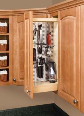 Pull-Out Wall Cabinet Organizer with Stainless Steel Panel