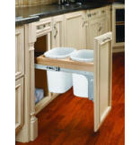 Double 10-Quart Desk Top Pull-Out Waste Container Set with 1-1/2