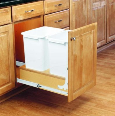 35-Quart Double Pull-Out Waste Container Set with Full-Extension Slides