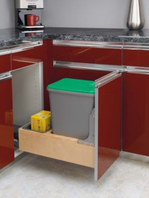 Rev-A-Motion™ 35-Quart Single Bottom-Mount Wood Pull-Out Waste Container