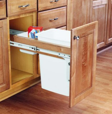 35-Quart Top Mount Wood Pull-Out Waste Container Set with 1-5/8