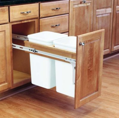 27-Quart Double Top Mount Wood Pull-Out Waste Container Set with 1-5/8