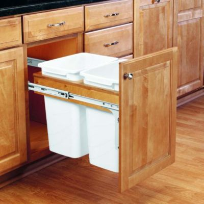 35-Quart Double Pull-Out Top Mount Waste Container Set with 1-3/4
