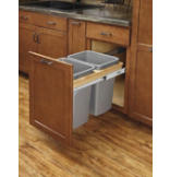 Double 50-Quart Soft-Close Top Mount Wood Waste Containers