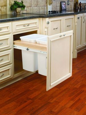 35-Quart Double Top Mount Wood Pull-Out Waste Container Set with 1-5/8