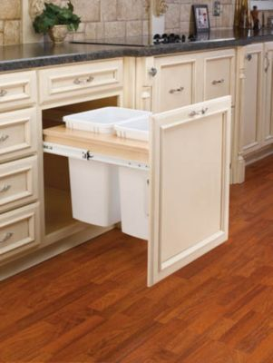 35-Quart Double Pull-Out Top Mount Waste Container Set with 1-1/2