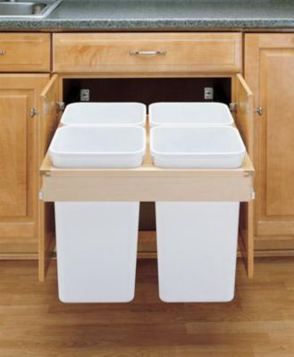 27-Quart Quad Pull-Out Top Mount Waste Container Set with 1-1/2